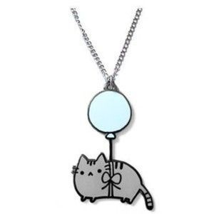 Pusheen Cat tied to a balloon necklace Modcloth